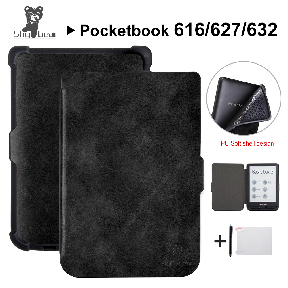 Shy Bear Luxury Case for Pocketbook 616/627/632 Touch Lux4 Ereader Book Case for Pocketbook Basic Lux 2/touch HD 3 Ebook +gift pocketbook 624 basic белый