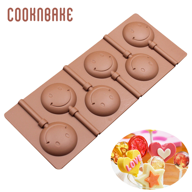 COOKNBAKE Silicone Candy Lollipop Mold chocolate sugar mould for lollipops cake decoration form round biscuit pastry baking tool