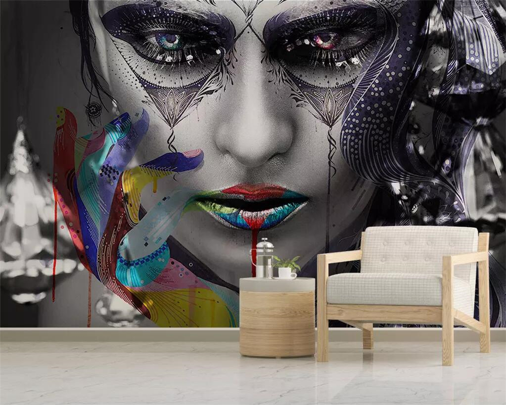 beibehang Wallpaper modern minimalist illustration colorful sexy beauty 3d living room bedroom mural tv background 3d wallpaper