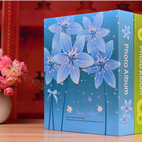 4D Big 6 Inch Boxed Photo Album Floral Cover Interleaf Type Loose-leaf Screw Binding PP Leafs Creative Family Yearbook 40%Off