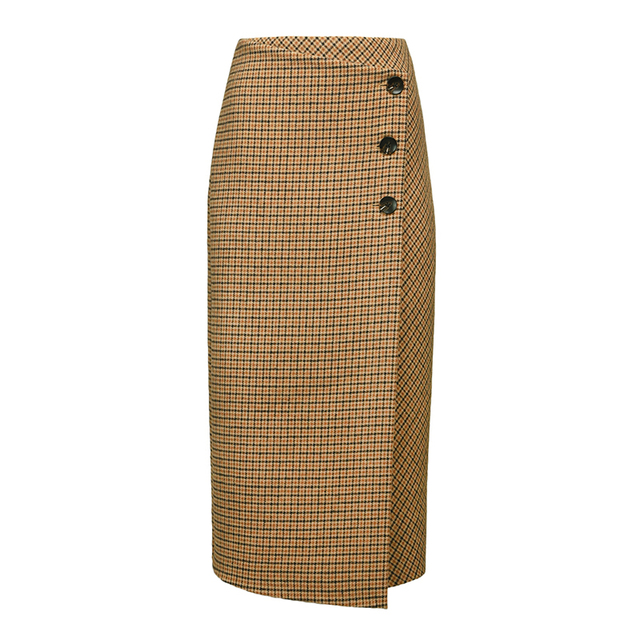 AEL Retro Female Hight Waist Asymmetry Woolen Midi Skirt Wrap New Plaid Women Clothing Vintage Fashion Jupe Longue Femme Slim 3
