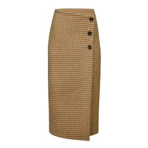 Image 4 - Ael retro feminino altura da cintura assimetria de lã midi saia envoltório novo xadrez roupas femininas moda vintage jupe longue femme magro