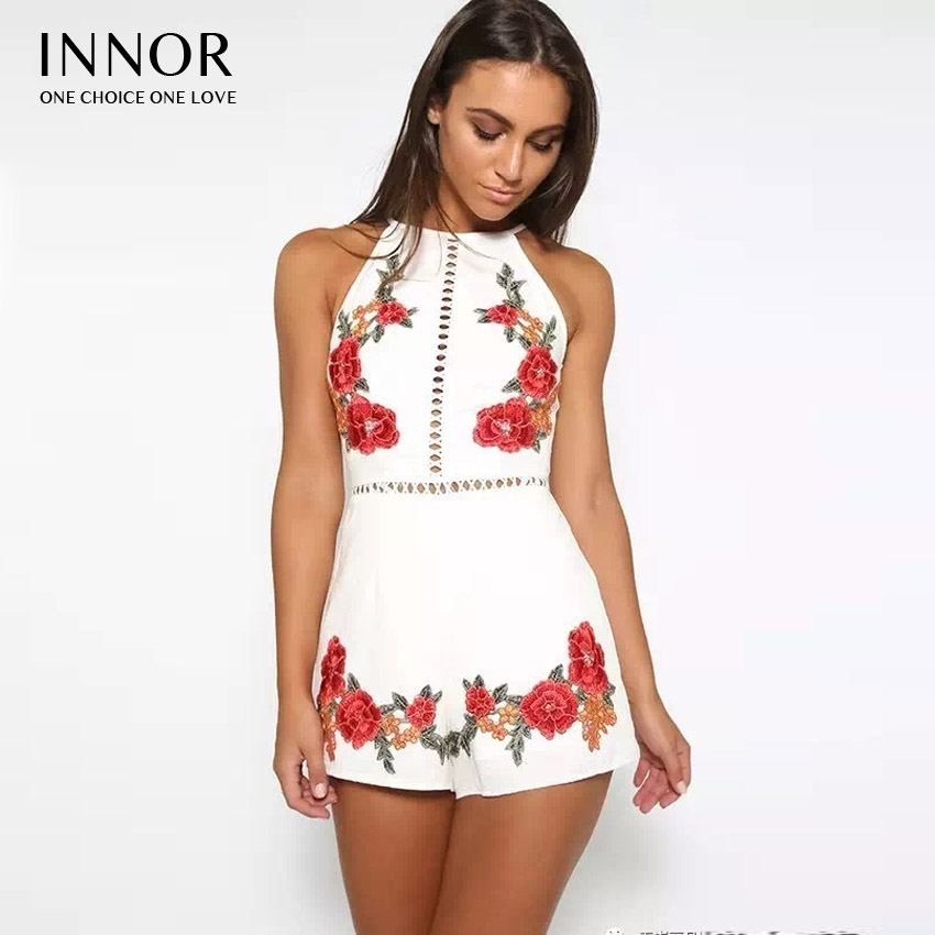 Women 2017 Halter Playsuit Innor Elegant Bodysuit Flower Rompers Embroidery Backless New Sexy Floral Out Summer Hollow n8wdxwgzqZ