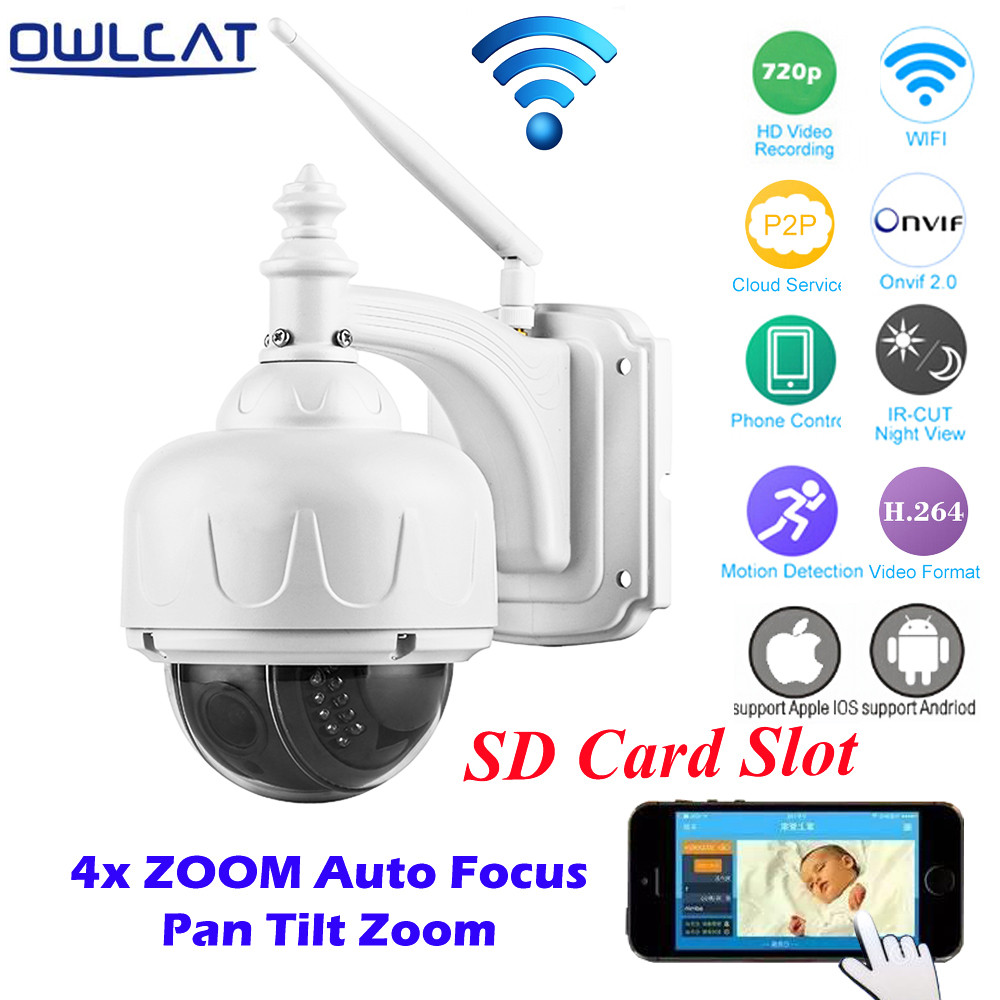 OwlCat HD 720P High Speed Dome Outdoor WiFi Wireless PTZ IP Camera H.264 Onvif Surveillace Camera 2.8-12mm lens 4X zoom IR-CUT 4 in 1 ir high speed dome camera ahd tvi cvi cvbs 1080p output ir night vision 150m ptz dome camera with wiper