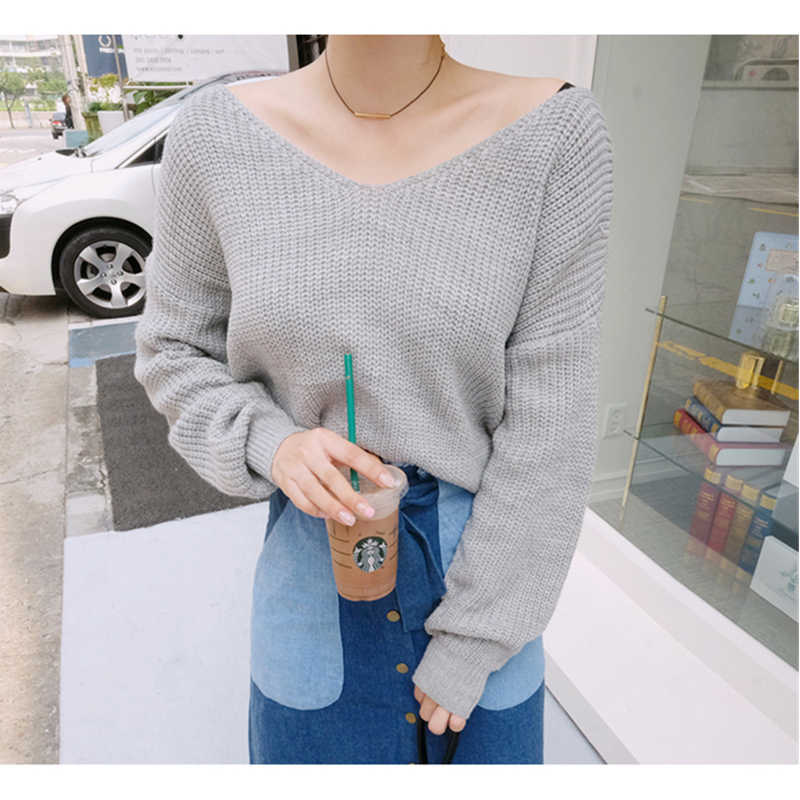 cc499724f47 Sexy Backless Reversible Off Shoulder Sweater 2018 Pull Femme V Neck Cross  Back Women Oversized Sweaters Long Sleeve Jumpers