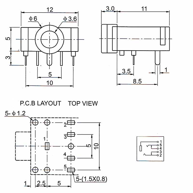 50pcs PJ 307 PJ307 3 5mm Jack Stereo Socket Audio Jack Connector DIP PCB Board Mount aliexpress com buy 50pcs pj 307 pj307 3 5mm jack stereo socket 3.5Mm Stereo Jack Wiring Diagram at gsmx.co