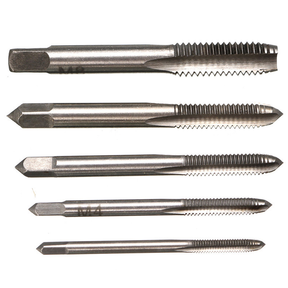 5pcs M3/M4/M5/M6/M8 HSS Machine Screw Thread Metric Plug Taps  For Auto Repair Machinery Drill Bits Hand Tool Suit