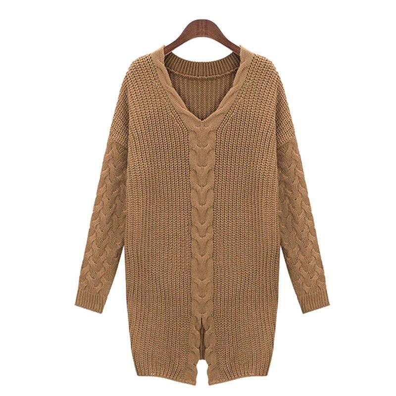 Chandails Manteau Plus V brown Tricotés 2018 Hiver Gris Pull cou Taille Pulls Femme Grande Causl Lâche Femmes 5xl Automne FUvPIW4c1