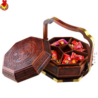 Laos rosewood basket carved double box red wood furniture decoration wedding dowry gifts