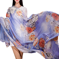 2015 Resorte Femenino de Playa de Gran Tamaño Chal De Seda Para El Verano Bufandas de moda de otoño de Impresión Digital de Moda Ultra Larga Amplia Bufanda de Seda Cape