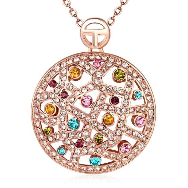 ad8a8355a9a4 Colorido Bling el taladro checo COLLAR COLGANTE redondo para las mujeres  nupcial de oro rosa Cuerpo Cadena de boda joyería de lujo ornamento
