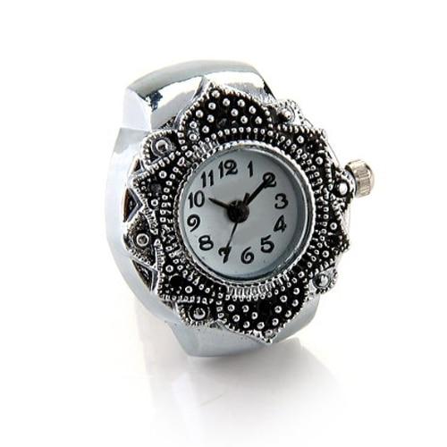 "Tibetan Silver Flower Men Lady Finger Ring Watch 0.87"" HOT"