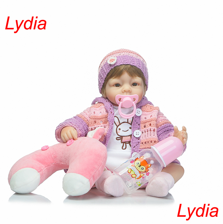 ФОТО 40cm silicone reborn dolls for sale girl Lydia doll reborn pink sweater real bebe alive reborn bonecas children gift dolls