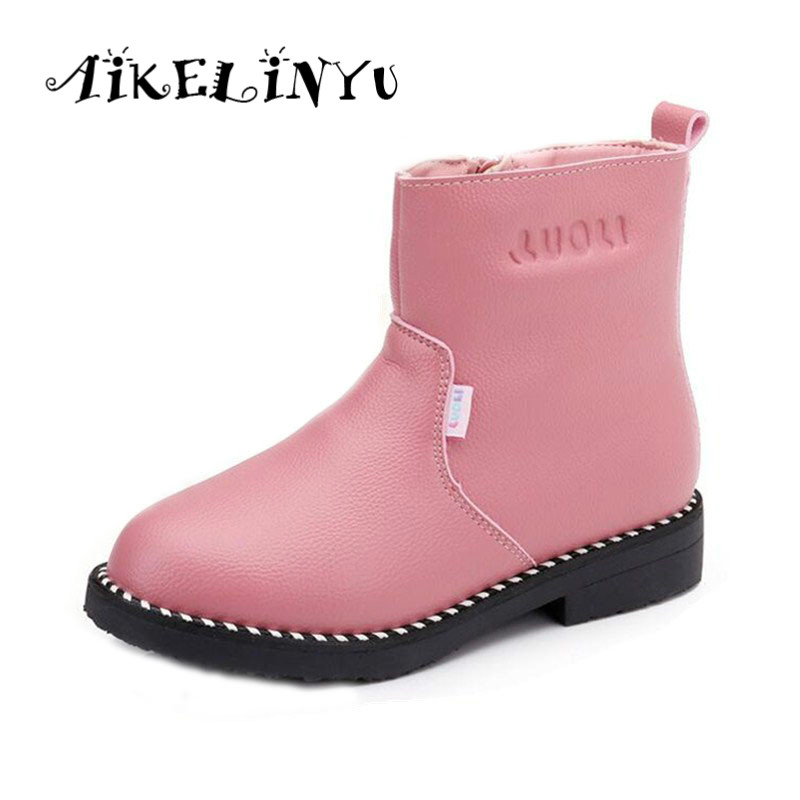 Winter Girl Genuine Leather Boots Girl pink leather shoes Kids Snow Boots Big Girl Warm Martin Boots Children Waterproof Boots steel d big girl
