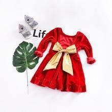 7e311ed56183a Doux enfants filles printemps automne velours arc volants robe de soirée noël  couleur rouge mode Western fête vacances robes