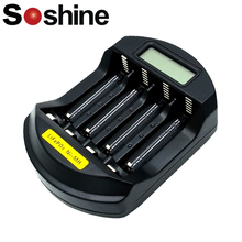 Original Soshine SC-C5 Intelligent Battery Charger with LCD & USB Input Smart Charger for LitePO4 14500 10440 NiMH AA AAA  original klarus ch4s smart battery charger ac usb input 4 slot lcd intelligent battery charger for c aa aaa 18650 26650 14500