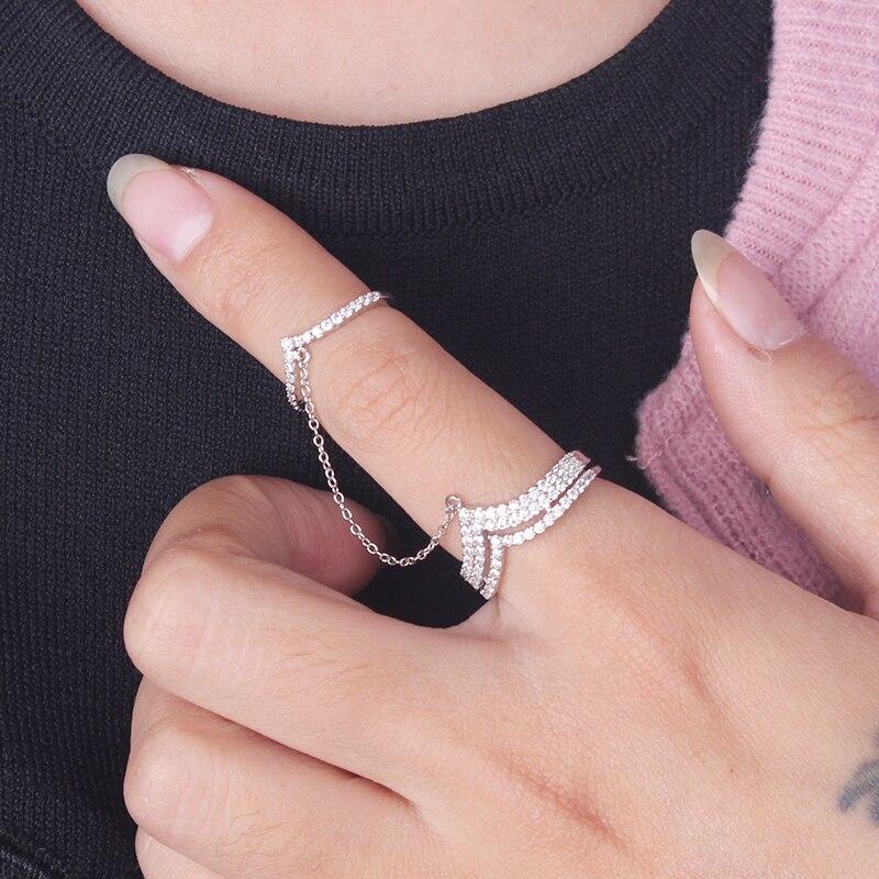 Шикарное женское коктейльное кольцо, серебряное двойное кольцо с кристаллами, для женщин, чтобы создать кольцо с короной.