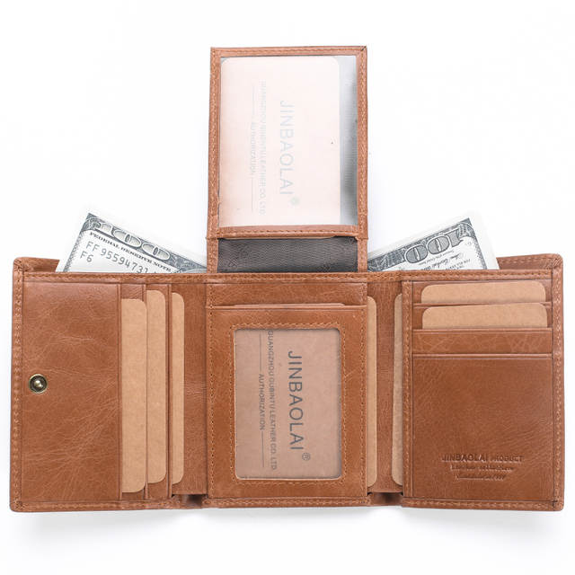 758726d38752 RFID Genuine Leather Wallets 3 Fold Soft Male Purse 2 Color Cow Leather  Handmade Wallets Credit Card Holder Carteira Purses Bags