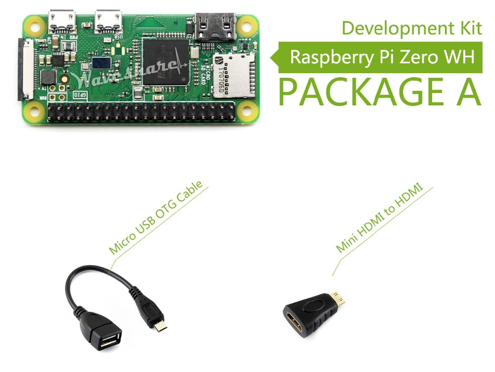 Waveshare Raspberry Pi Zero WH Package A including mini PC Raspberry Pi Zero WH Mini HDMI to HDMI Adapter Micro USB OTG Cable 10pcs lot micro usb switch cable power cable usb to micro usb charging line wire for raspberry pi 2 3 zero