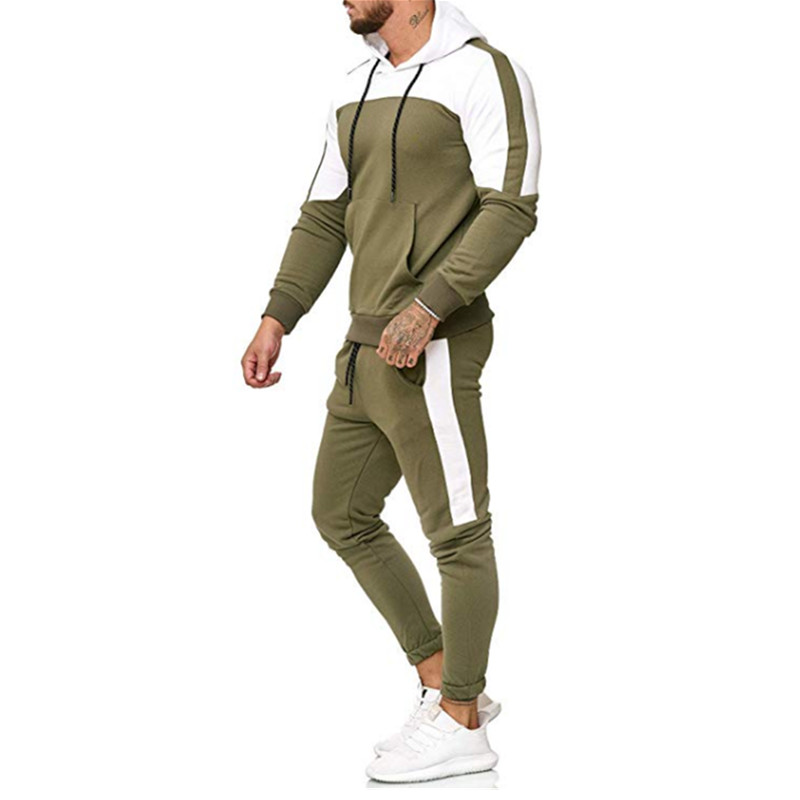Image 3 - 2018 nuevo camuflaje impreso hombres casuales chaqueta hombres chaqueta de 2 piezas chandal ropa deportiva sudaderas-in Мужские комплекты from Мужская одежда