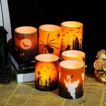 LED Electronic candles Halloween pattern candle Lamps battery flameless candles velas  Easter Festival Party Bar decoration недорого
