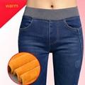 Inverno Quente Esticar Cintura Alta Jeans Femme Calça Jeans Preta Skinny Mulheres Calça Jeans Inverno de Veludo calças jeans femininas Tamanho Grande