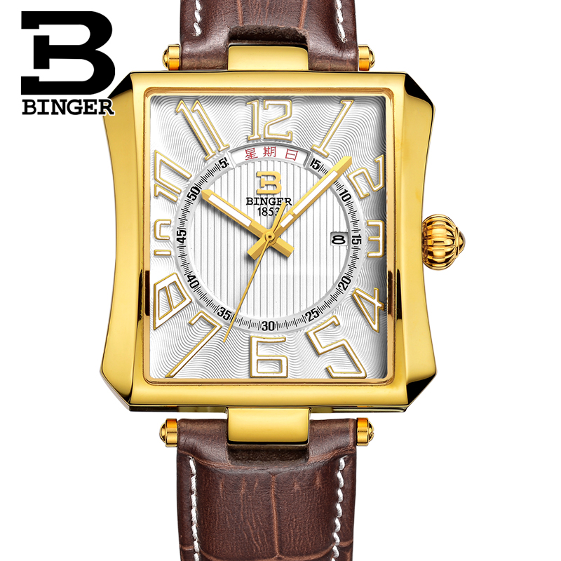 BINGER High Quality Quartz Watches Men's Business Casual Watch Calendar Week Display Rectangular Leather Strap Watches Gifts|gifts silver|gift|watch strap spring bar - title=