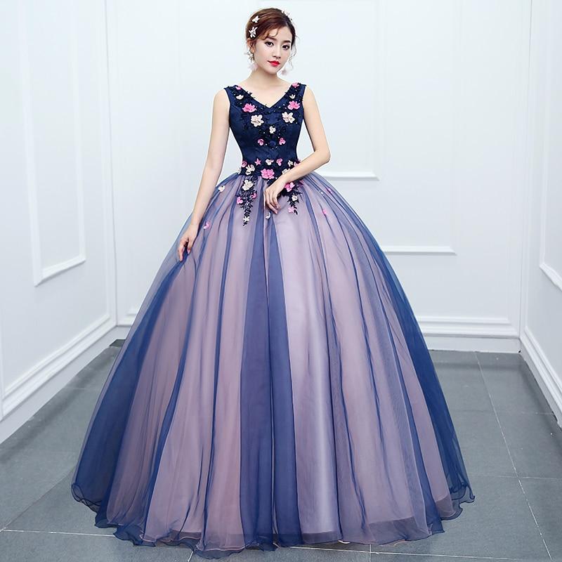 Col en v sans manches Quinceanera robes 2019 nouvelles Appliques 3D fleurs longue bal Quinceanera robe bleu marine rose formelle robe de soirée