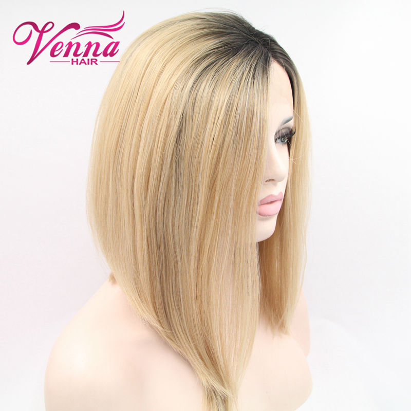 Black To Blonde Ombre Cute Short Bob Hairstyle Straight Synthetic
