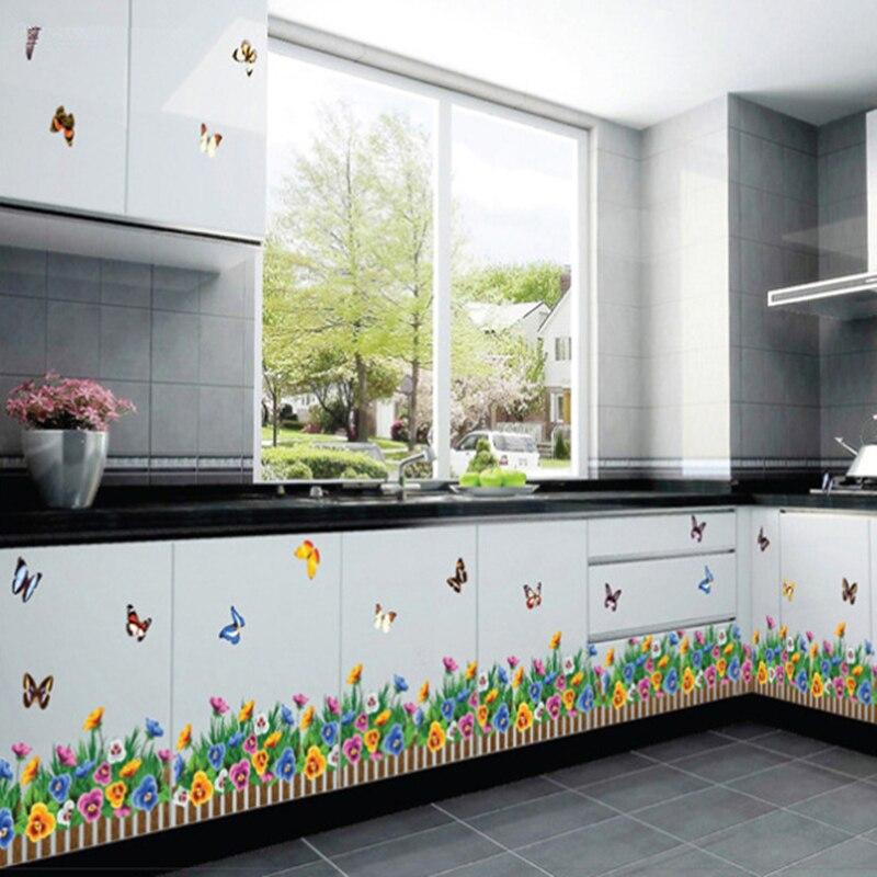 3D fiori erba Recinzioni farfalla vita battiscopa adesivi camera da ...