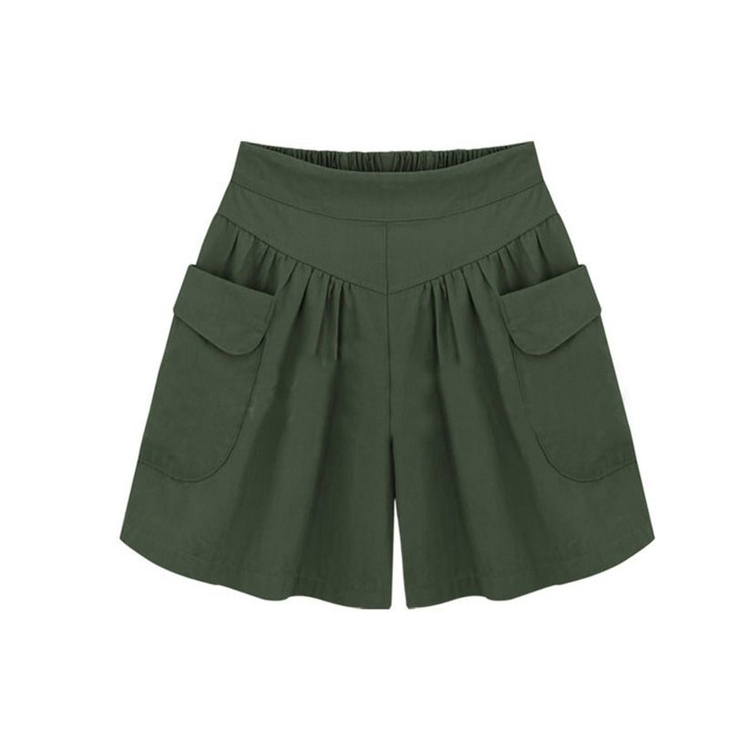 European Style High Waist Loose Wide Leg   Shorts   Femme Elastic Waist Pockets Plus Size 4XL Female Large Size Summer Women   Shorts