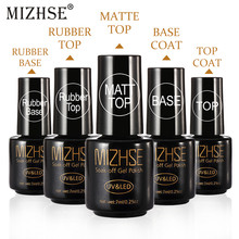 Mizhse 7 Ml Base Coat untuk UV Kuku Gel Polandia Set Lap Top Coat Rendam Off UV/LED lampu Kuku Bahasa Polandia Tahan Lama Gel Lacquer(China)
