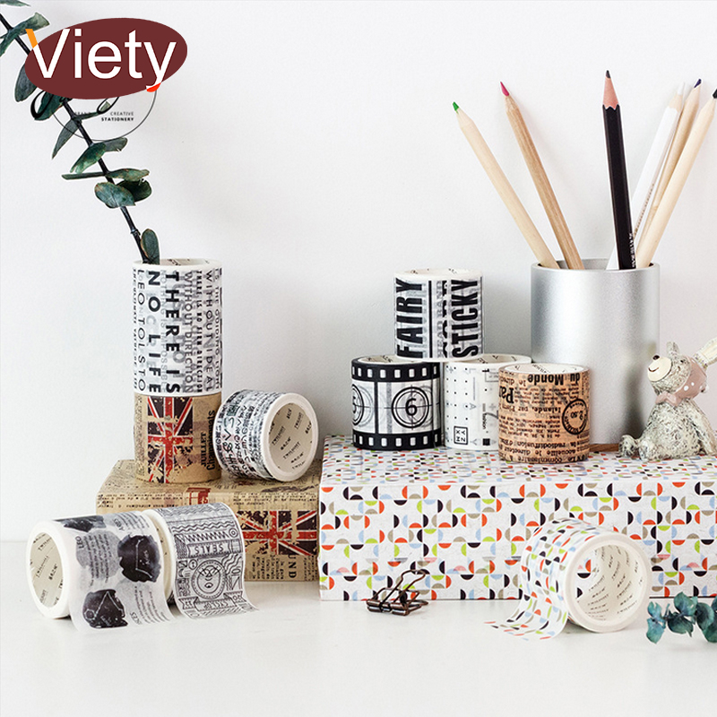 3-6cm*5m New Vintage Newspaper Student Washi Tape DIY Decoration Scrapbooking Planner Masking Tape Adhesive Tape Label Sticker