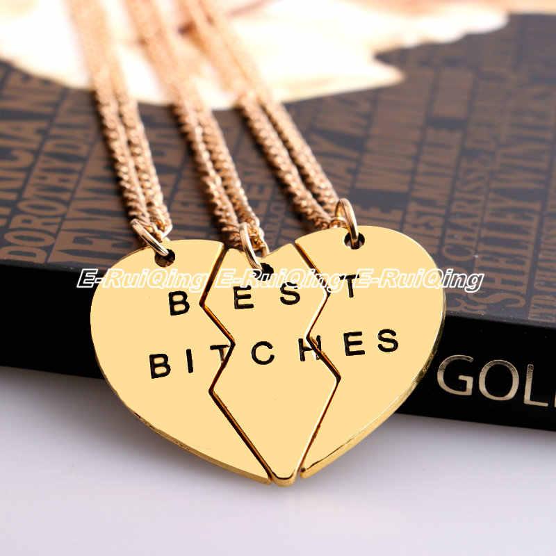 Oro/plata mejores zorras mejor amigo para siempre 2 o 3 piezas romper corazón colgante collar amistad BFF cadena collares