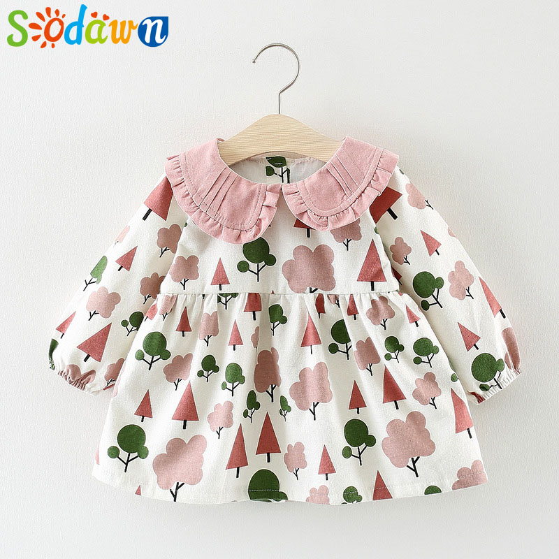 781d5e532cce Sodawn Girls Dress 2018 Autumn Cotton Doll Collar Princess Long ...