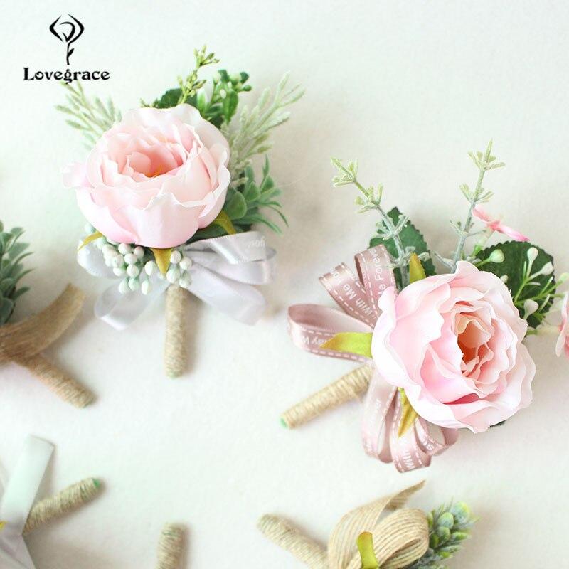 white Pink roses wedding  wrist corsage bracelet bridesmaid Boutonniere flowers (76)