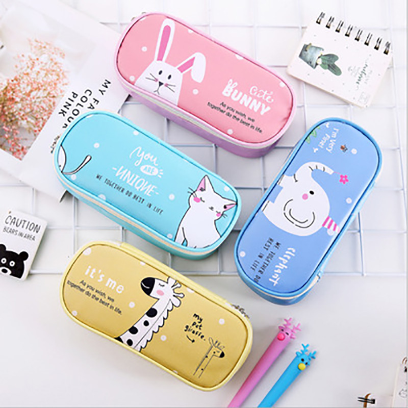 Kawaii Cartoon Multifunction School Pencil Case & Bags Large Leather Pen Curtain Box For Boy Girl Kids Gift Stationery Supplies