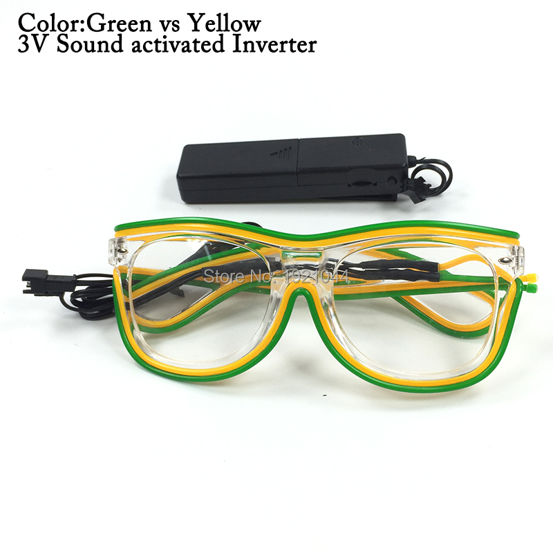 Neon light Glasses 2017 Hot Slaes DC-3V Sound activated Power by 2-AAA Batteries EL Wire ...