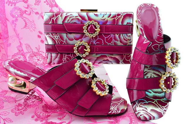 Beautiful Pumps African Women Shoes Matching Handbag Set With Crystal Design And Fuchsia Color Bag For Dress MM1064