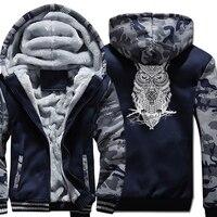 New Arrival Winter Fleece Jackets 2017 High Quality Sweatshirts Men Hoodies Print OWL Animal Fashion Streetwear Hip Hop Hoody