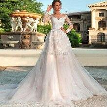 זול קו ארוך שרוולי חתונת שמלות O צוואר תחרת אפליקציות כפתור תחרה עד טול משפט רכבת כלה שמלות Vestido דה Noiva
