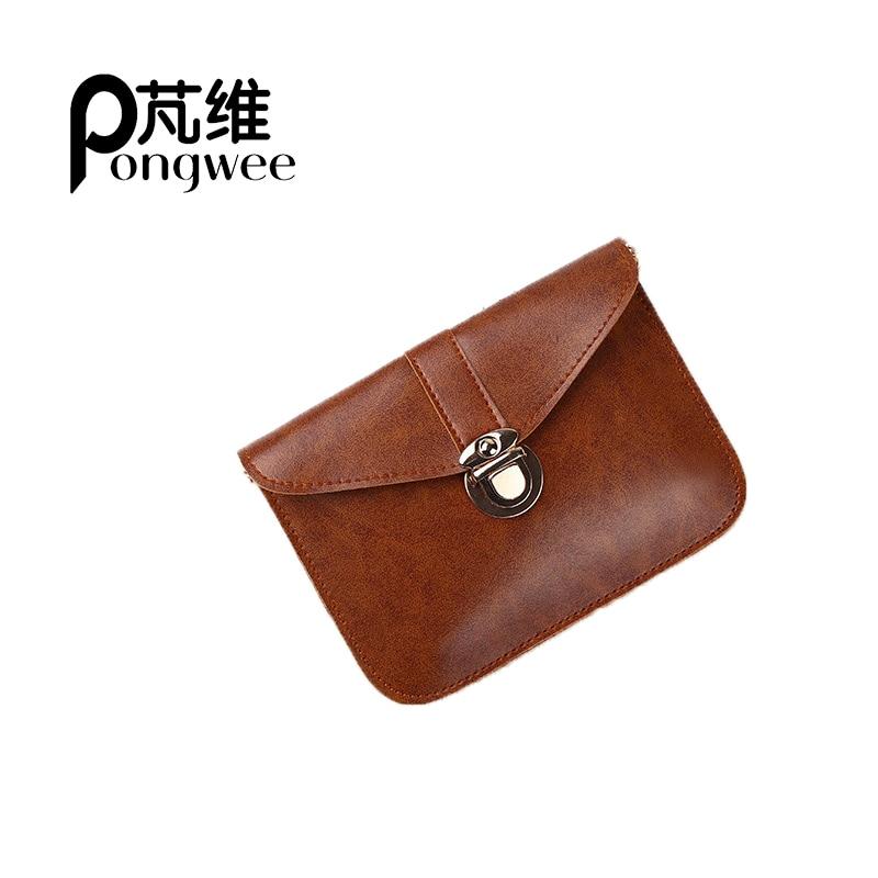 цены PONGWEE Women New arrival Messenger Fashion Mini Crossbody Female Shoulder Clutches Ladies Party Bags vintage Leather Handbag