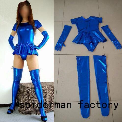 Adult Sexy Shiny Blue Fancy Dress Female Short Sleeve Zentai Catsuits Unitard Shiny Girl Bodysuit