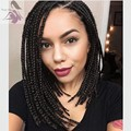 14inch short bob black wig heat resistant synthetic braided lace front wigs with baby hair high quality for african american