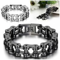 23cm 18mm Heavy Wide Stainless Steel Bracelet Men Biker Bicycle Motorcycle Chain Men S Bracelets Mens
