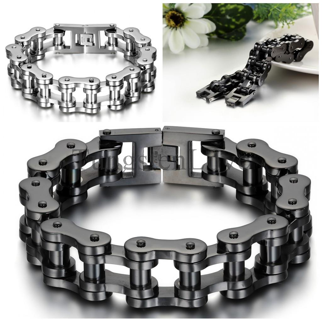 23cm*18mm Heavy Wide Stainless Steel Bracelet Men Biker Bicycle Motorcycle Chain Men's Bracelets Mens Bracelets & Bangles buy mens string bracelets