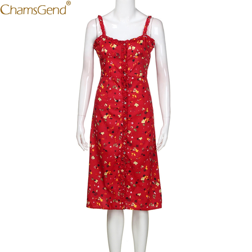 HOT SALE Women Sexy Floral Print Strappy Red Long Dress Single Breasted Summer Beach Holiday Dresses 80514 Free Shipping