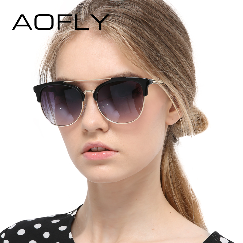 38381e7bd5 AOFLY Sunglasses Women Fashion Half Frame Sun glasses Vintage Round Sunglasses  Women Circle Shades Brand Designer Outdoor UV400-in Sunglasses from Women s  ...