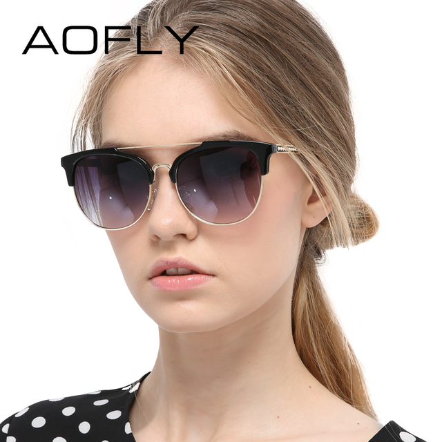AOFLY Sunglasses Women Fashion Half Frame Sun glasses Vintage Round Sunglasses Women Circle Shades Brand Designer Outdoor UV400