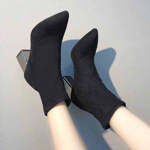 Image 4 - Moda kostki elastyczne skarpety buty masywne szpilki na wysokim obcasie Stretch kobiety jesień Sexy botki Pointed Toe kobiety rozmiar pompy